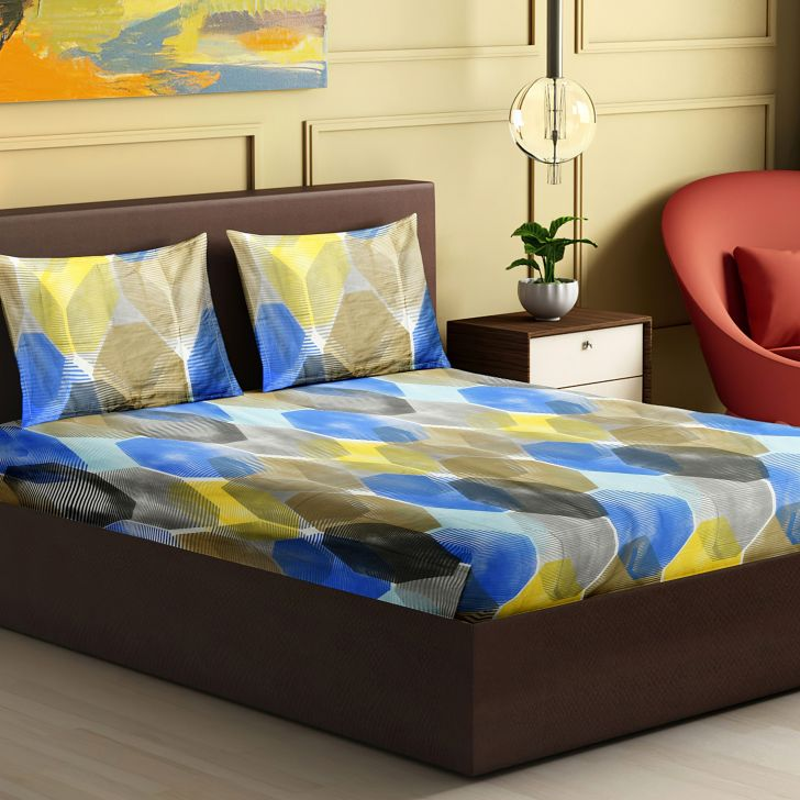 Twilight Cotton King Bedsheet 274 x 274cms in Blue Colour