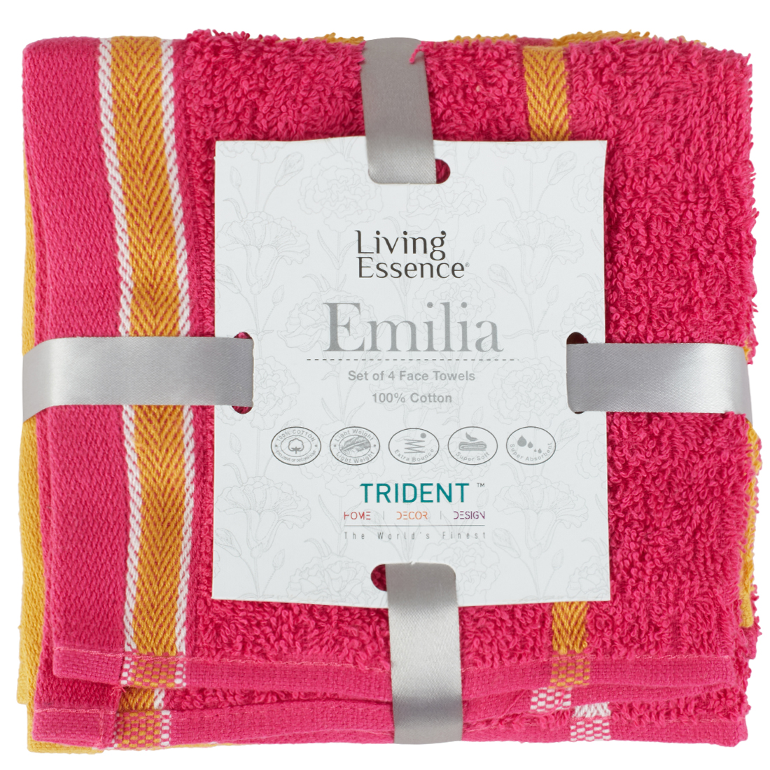 Emilia Set of 4 Cotton Face Towels in Gold Pink Colour by Living Essence