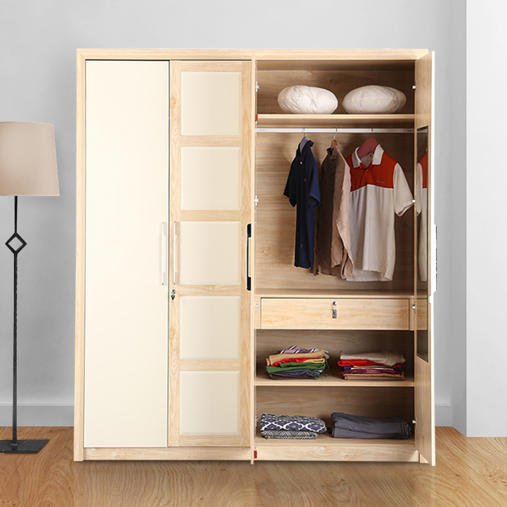 Galileo Engineered Wood Four Door Wardrobe in Beige Colour by HomeTown