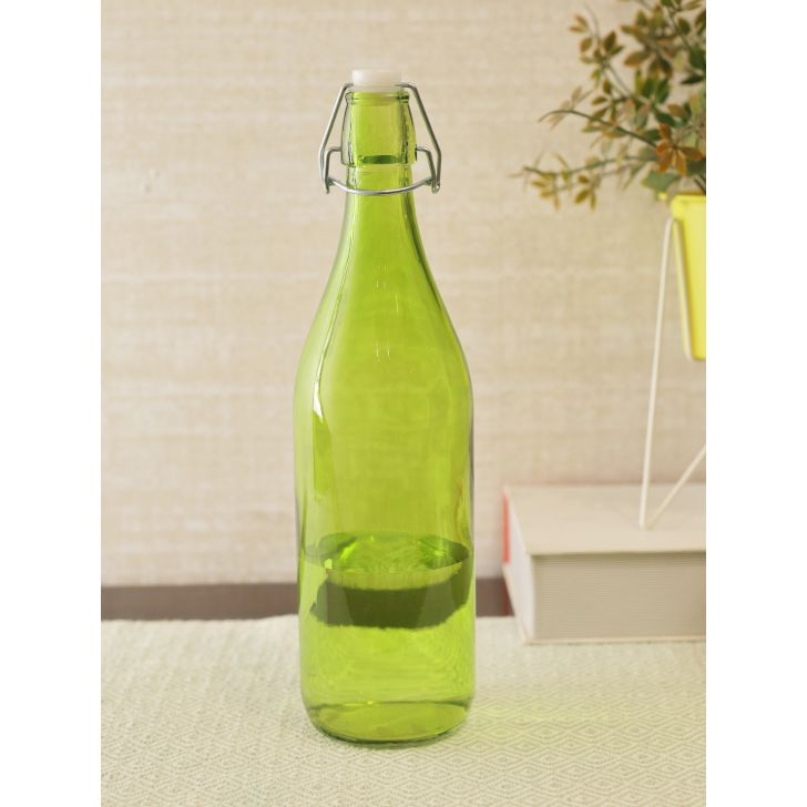 Lime Clear Glass Bottle in Green Colour by Living Essence