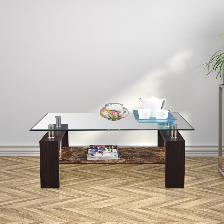 Garfield Glass Center Table in Dark Brown Colour by HomeTown