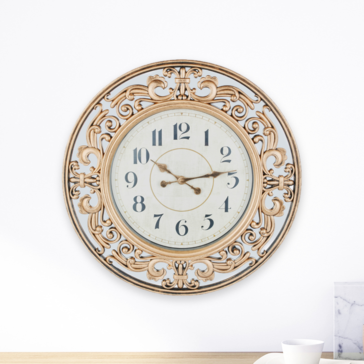 Aristo Ornate Mirror Border Classic Clocks in Brown, Neutrals Colour by Living Essence