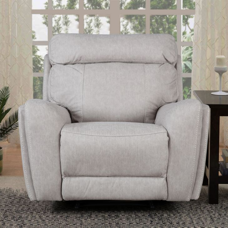Bologna Fabric Single Seater Recliner in Beige Color by HomeTown