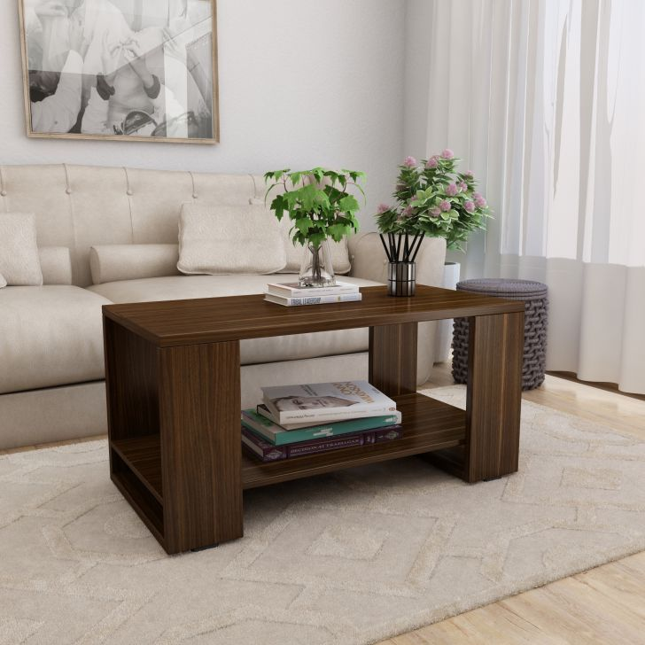 Noir Engineered Wood Center Table in Walnut Colour by HomeTown