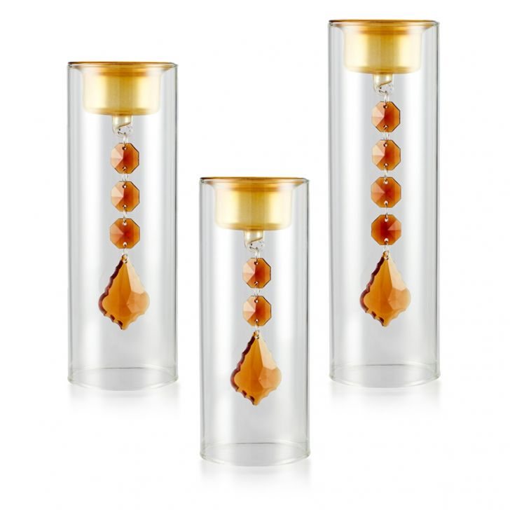 Meira Set Of Three Hanging Tea-Light Accent Lighting in Gold Colour by Living Essence