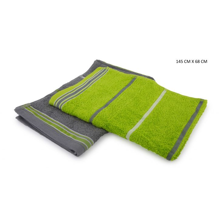 Emilia Bath Towels Set Of 2 Cotton Bath Towels in Lime & Grey Colour by HomeTown
