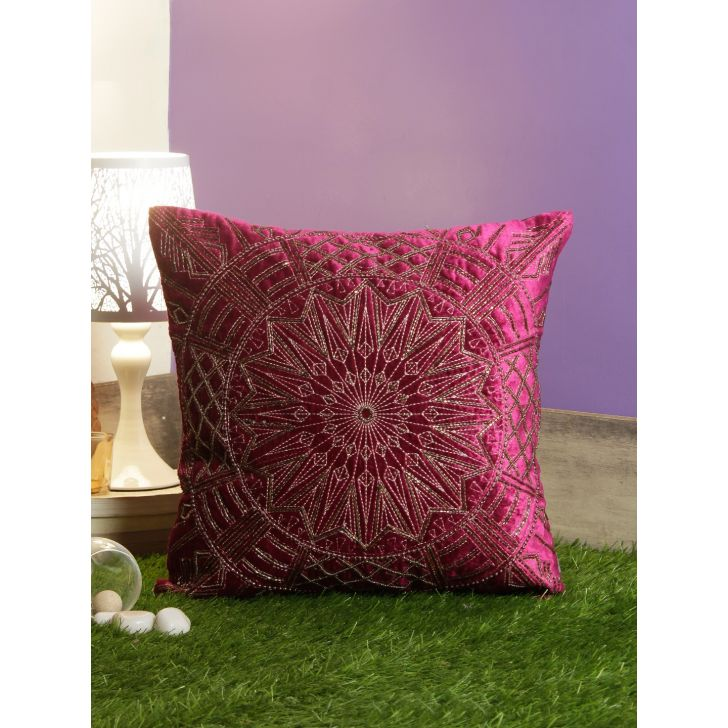 Chakra Cotton Cushion Covers in Berry Colour by Living Essence