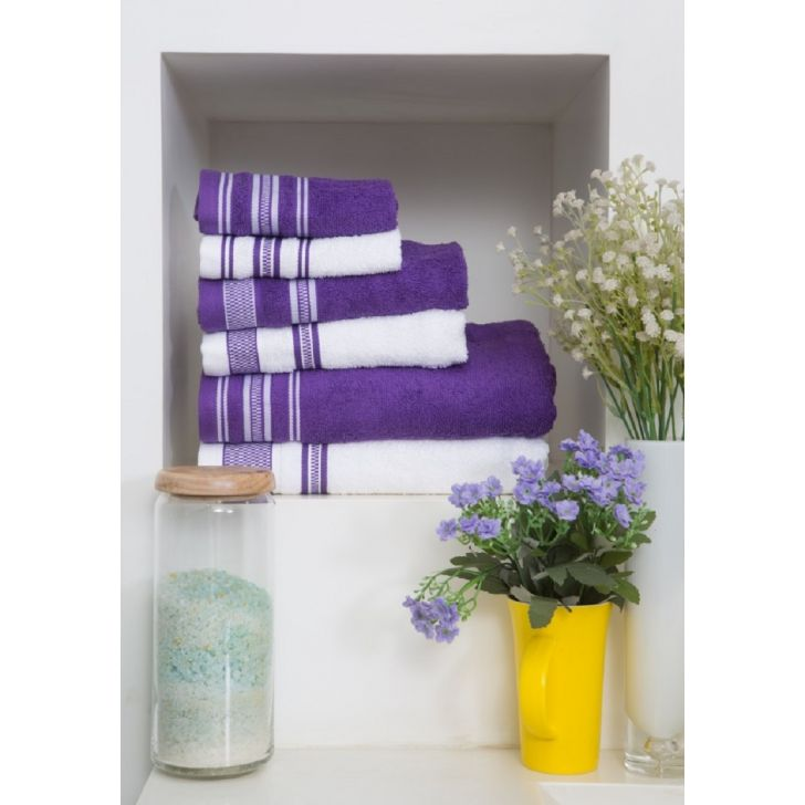 Spaces Bath Carnival Set Of 4 Yellow And White Cotton Bath Towel + Hand Towel
