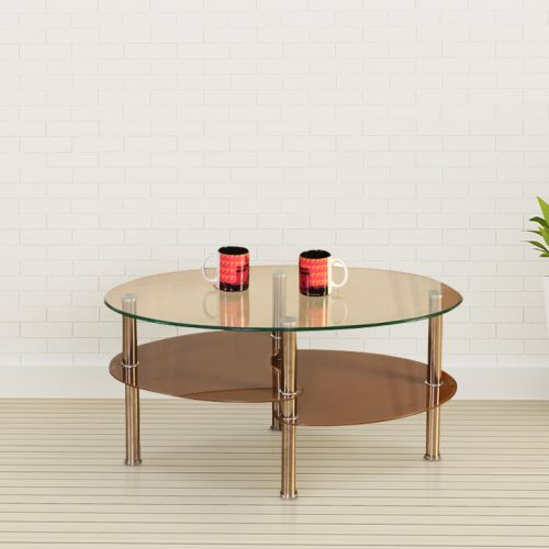 Buy Luna Glass Center Table In Brown Colour By Hometown Online At