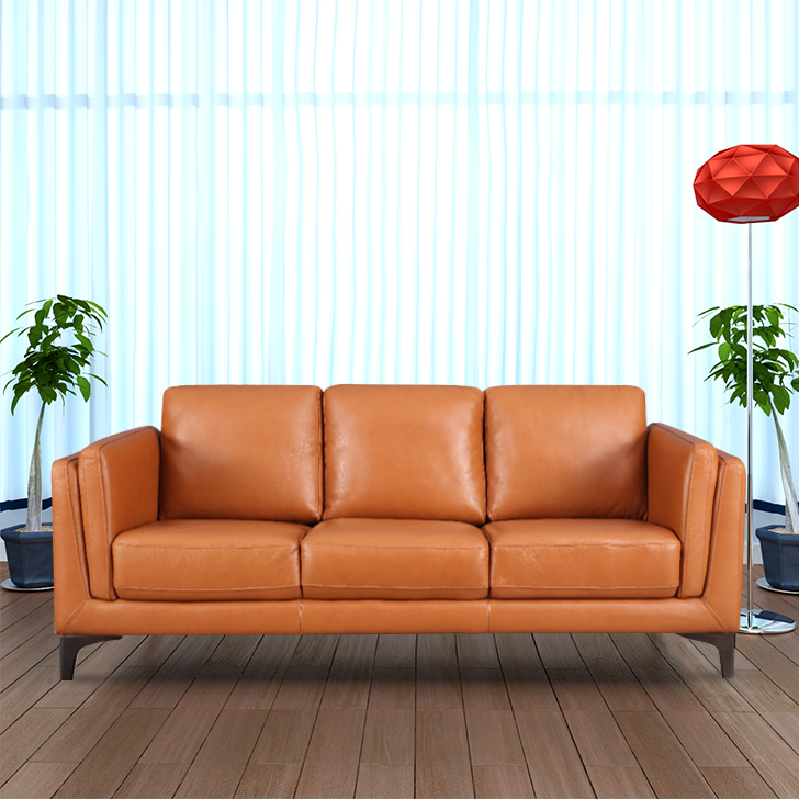 Maurice Half Leather Three Seater Sofa in Tan Colour by HomeTown