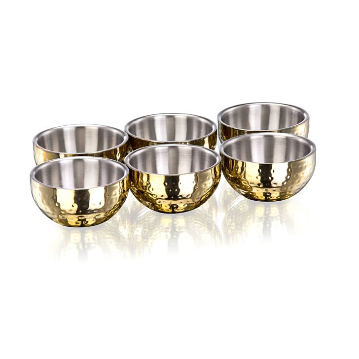 Sk Set Of 6 Pcs Double Wall Bowl Stainless steel Soup Bowls in Mirror & Matt Colour by Living Essence