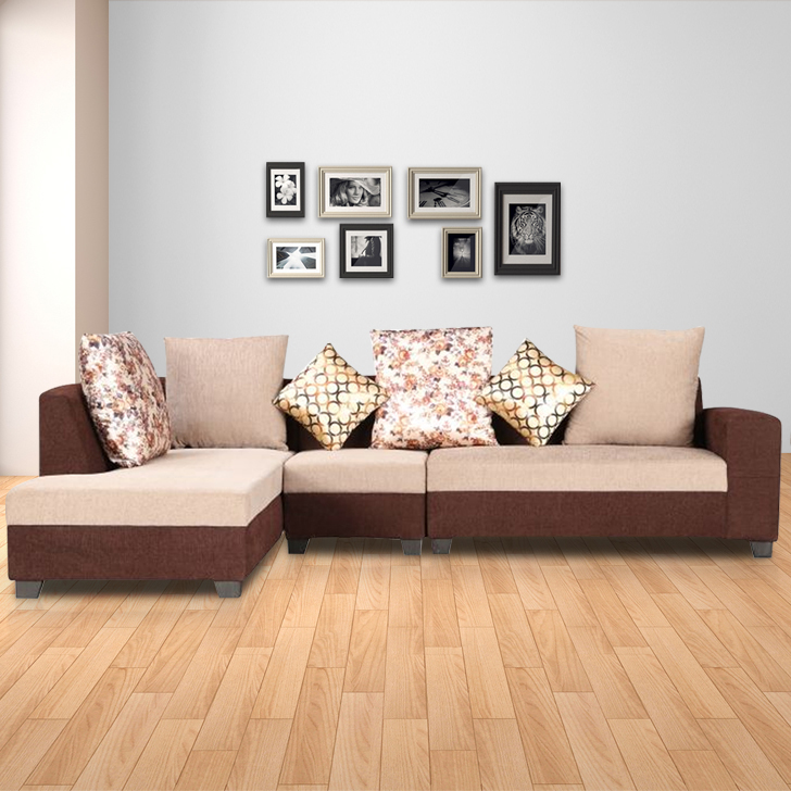 Casper Fabric Lounger in Brown Colour by HomeTown