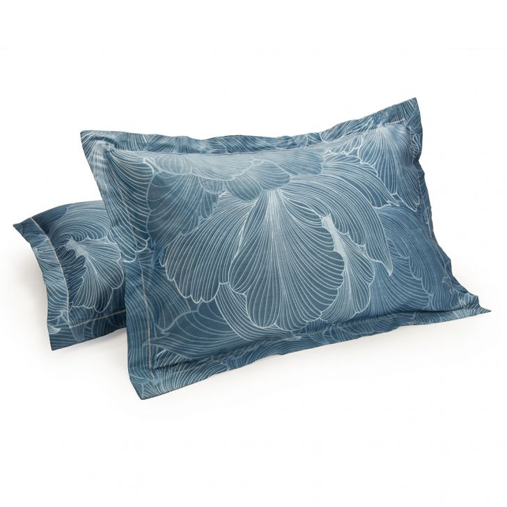 Set of 2 Pillow Cover Amour Flower Blue Cotton Pillow Covers in Cotton Colour by Living Essence