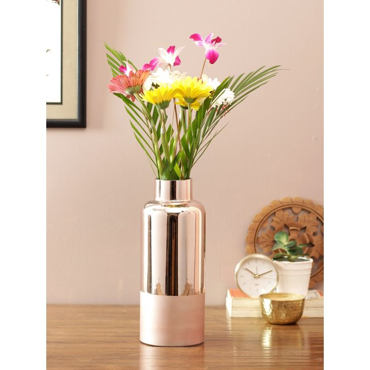 Eva Modern Ceramic Vase Rose Gold Pink Ceramic Vases in Rose Gold Pink Colour by Living Essence