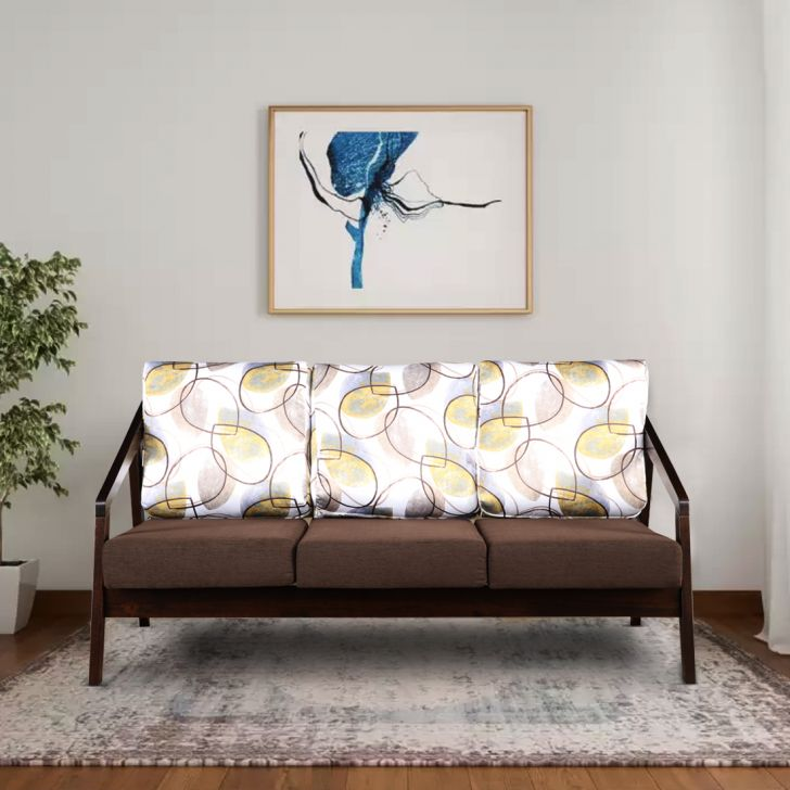 Borris Solid Wood Three Seater Sofa in Printed Brown Colour by HomeTown
