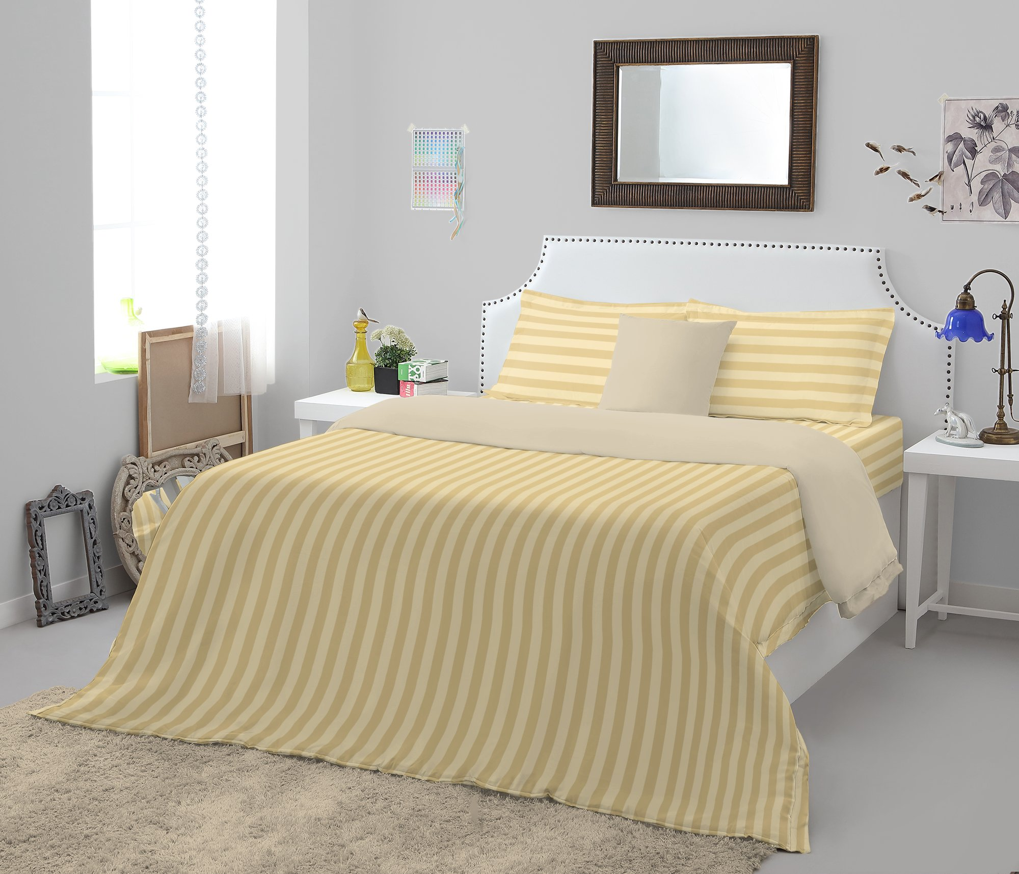 Spaces Sky Cotton King Bed Sheets in Beige Colour by Spaces