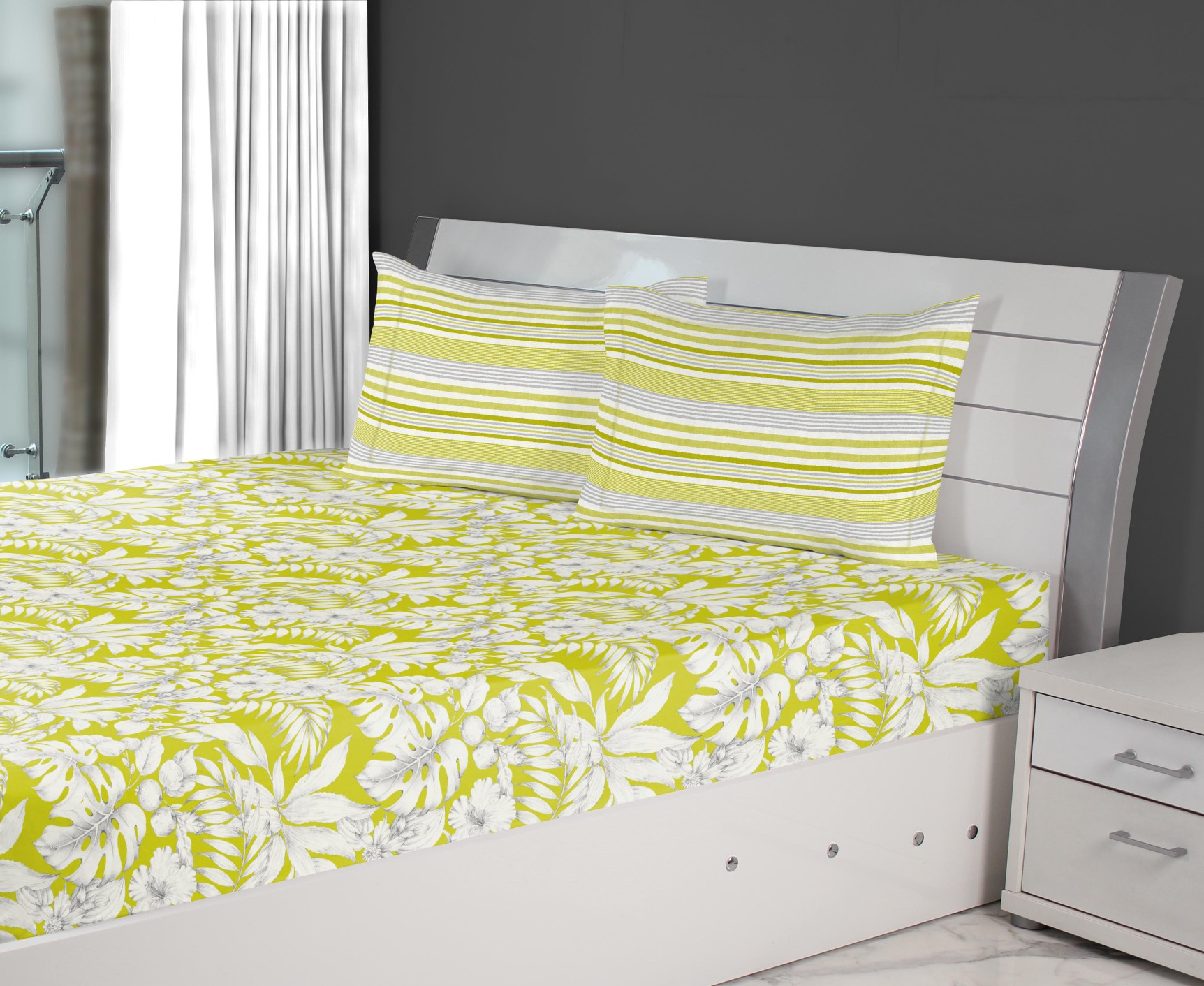 Emilia Cotton King Bedsheets in Lime Colour by Living Essence