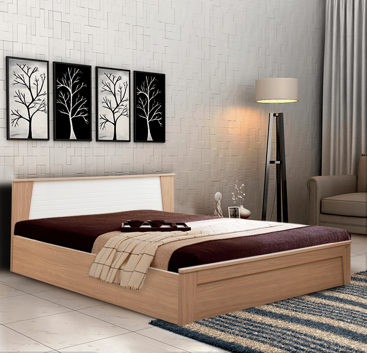Ambra Engineered Wood Hydraulic Storage Queen Size Bed in White & Larch Colour by HomeTown