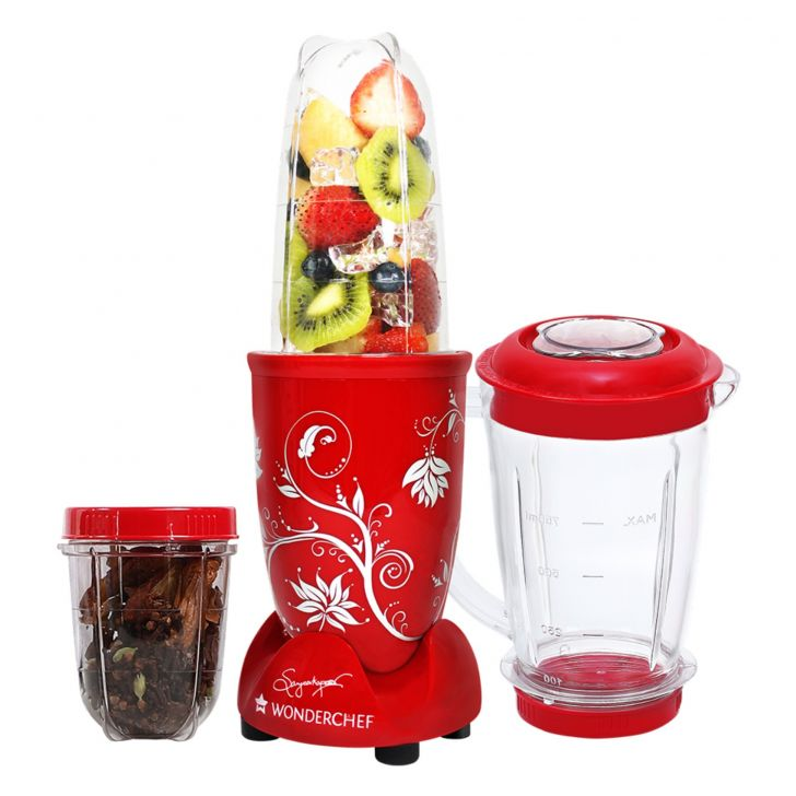 Blender & Grinder With Big Mixing Jar Plastic Blenders & Grinders in Red Colour by Wonderchef