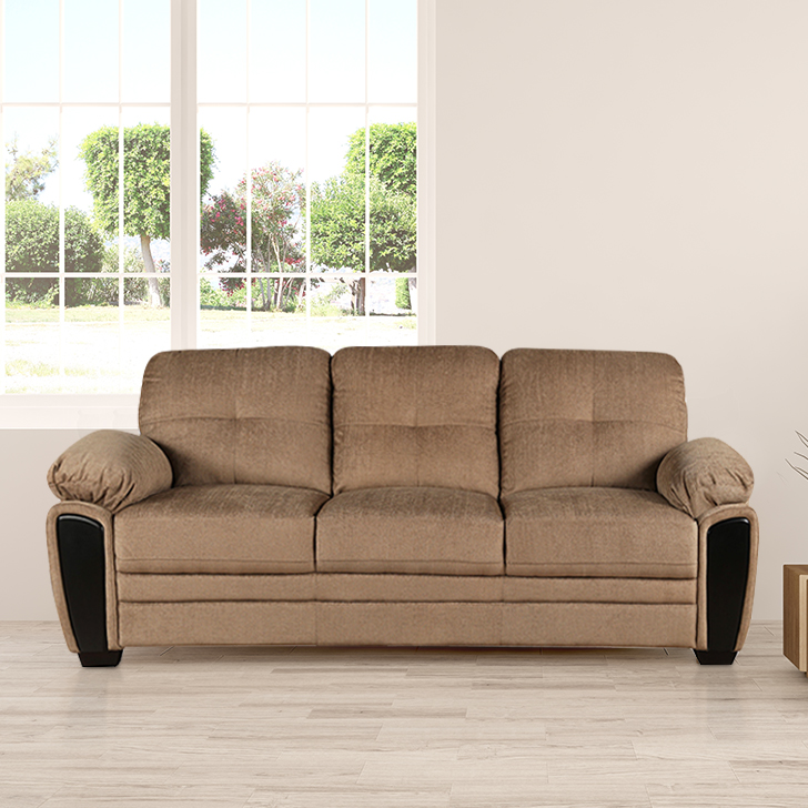 Acho Royale Fabric Three Seater Sofa in Brown Colour by HomeTown