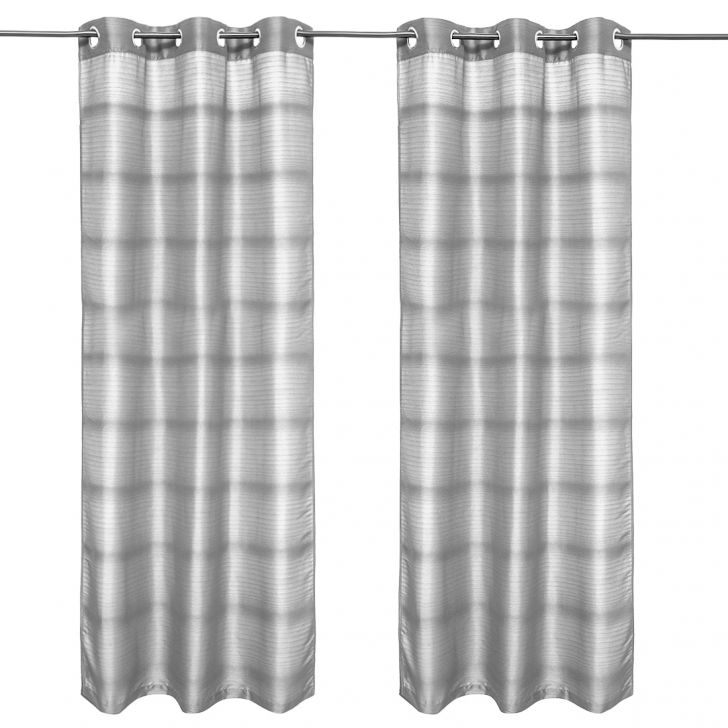 Fiesta Solid set of 2 Polyester Door Curtains in Charcoal Colour by Living Essence