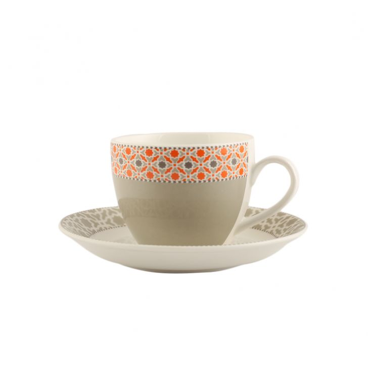 Marakesh Set Of 12 Cup & Saucer Ceramic Cups & Saucers in Multicolour Colour by Living Essence