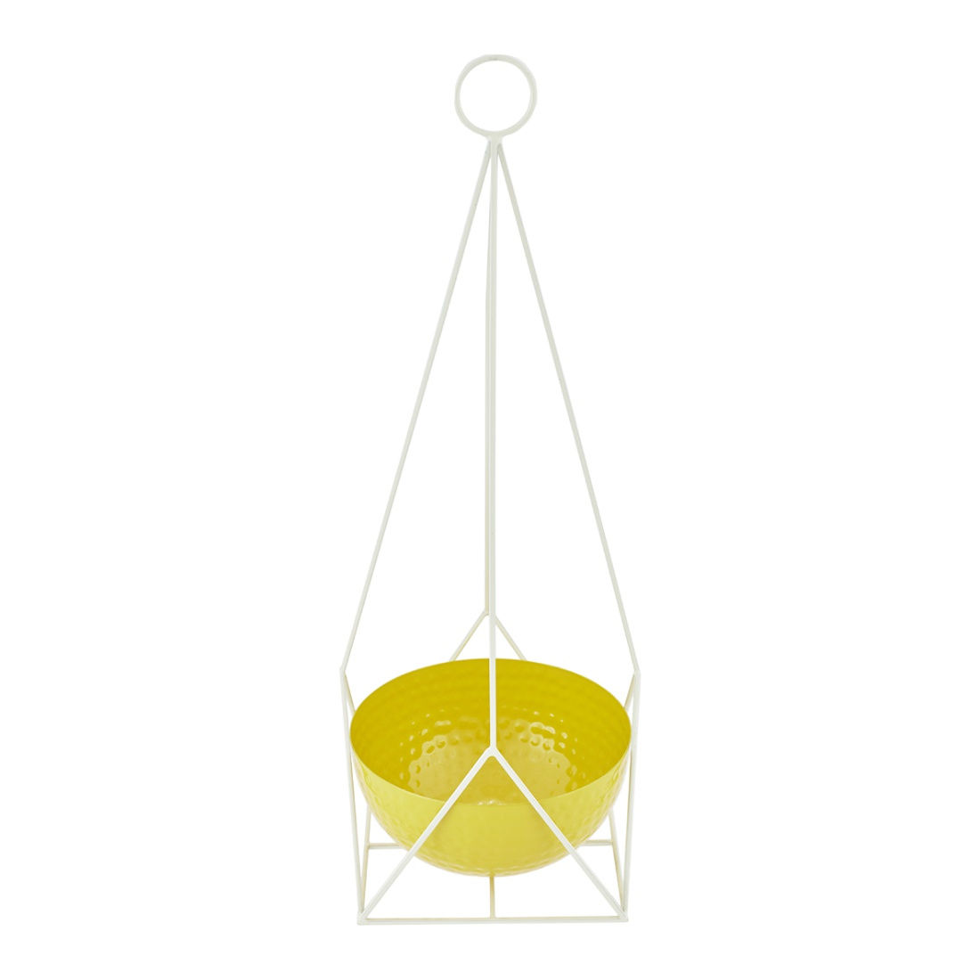 Aria Angular Hanging Planter Metal Pots & Planters in Yellow Colour by Living Essence