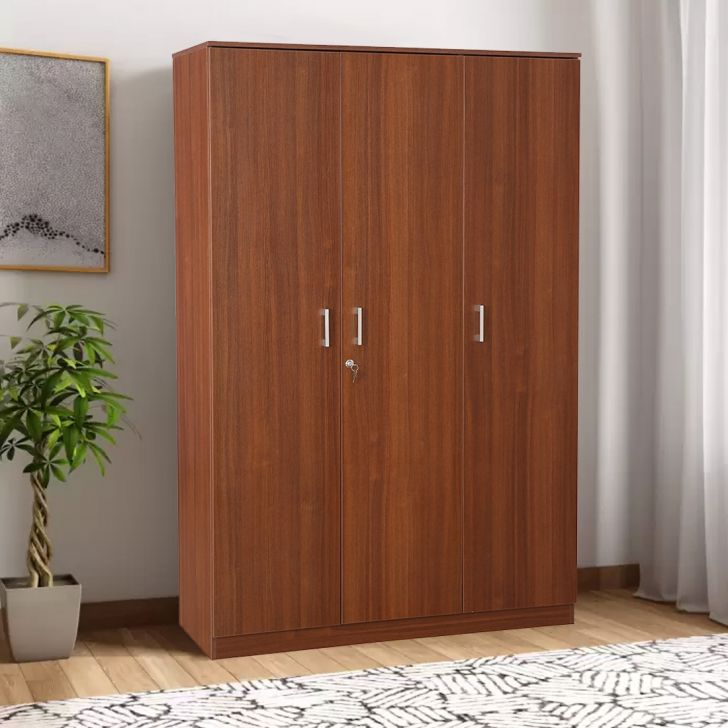Premier Engineered Wood Three Door Wardrobe in Regato Walnut Colour by HomeTown