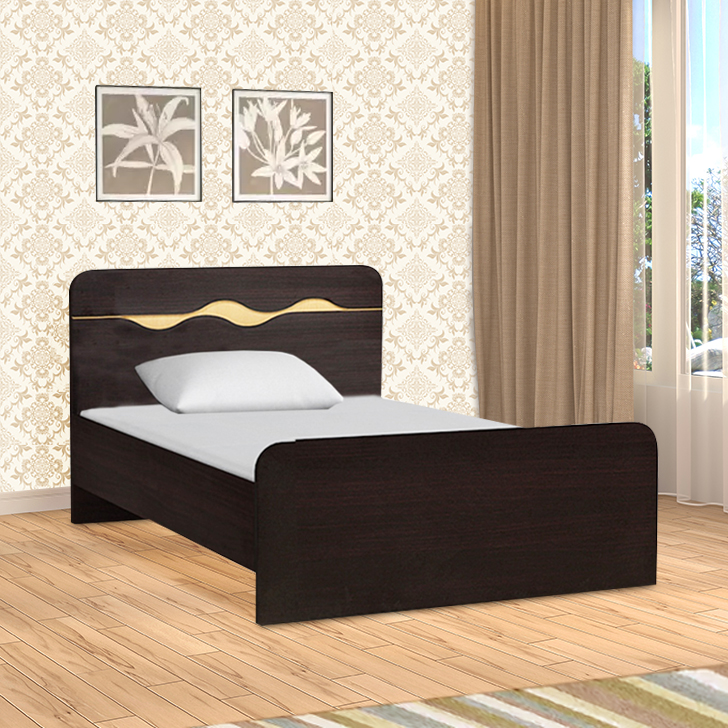 Swirl Engineered Wood Box Storage Single Bed in Wenge Colour by HomeTown