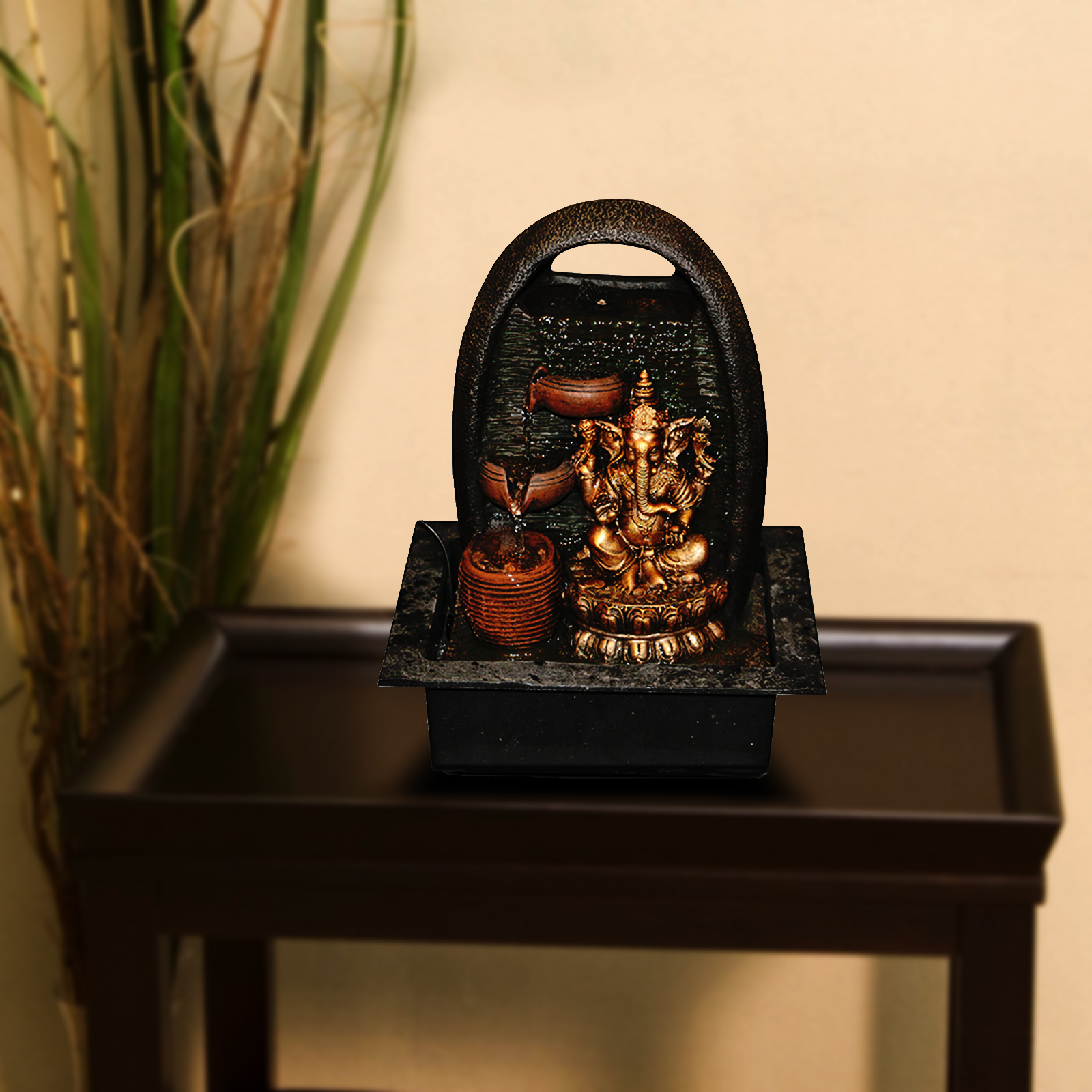 Hometown Sitting Ganesha Water Fountain Gold And Brown Polyresin Small Fountains in Gold And Brown Colour by HomeTown
