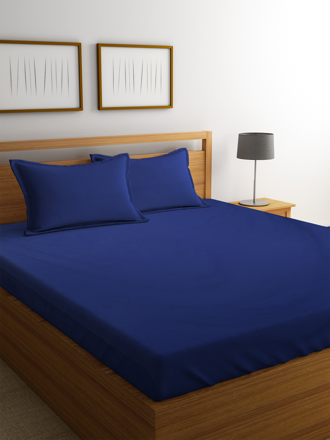 Portico Supercale Cotton Double Bed Sheets in Blue Colour by Portico