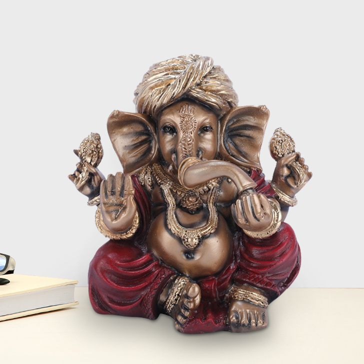 Fio Ganesha Small Polyresin Idols in Red-Gold Colour by Living Essence
