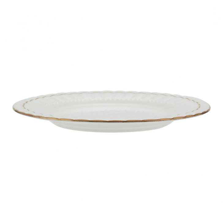 Gold Line Small Plate Ceramic Plates in White With Gold Line Colour by Living Essence