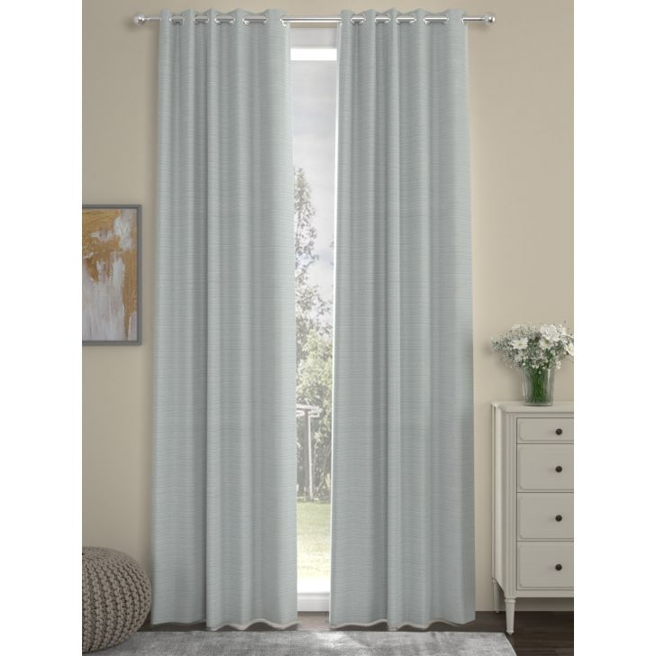 Solid Long Door Curtain In Light Grey Color By Rosara Home
