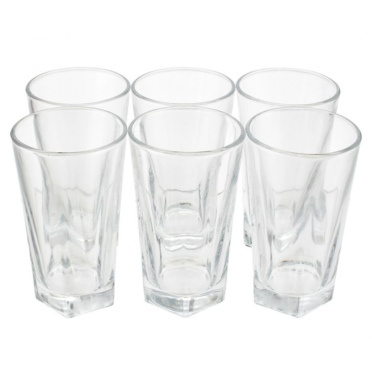 Pentagon Long Drink Glass Set Of 6 Pcs Glass Glasses & Tumblers in Transparent Colour by Sanjeev Kapoor