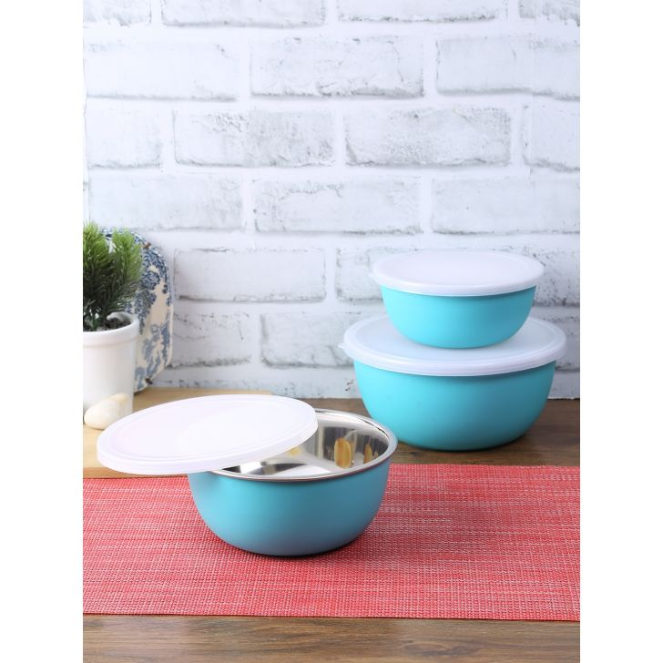 Living Essence Steel Bowl Set Of 3 Sea Green in Sea Green Colour by Living Essence