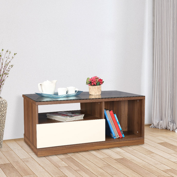 Julian Engineered Wood Console Table in High Gloss Apple Wood Colour by HomeTown