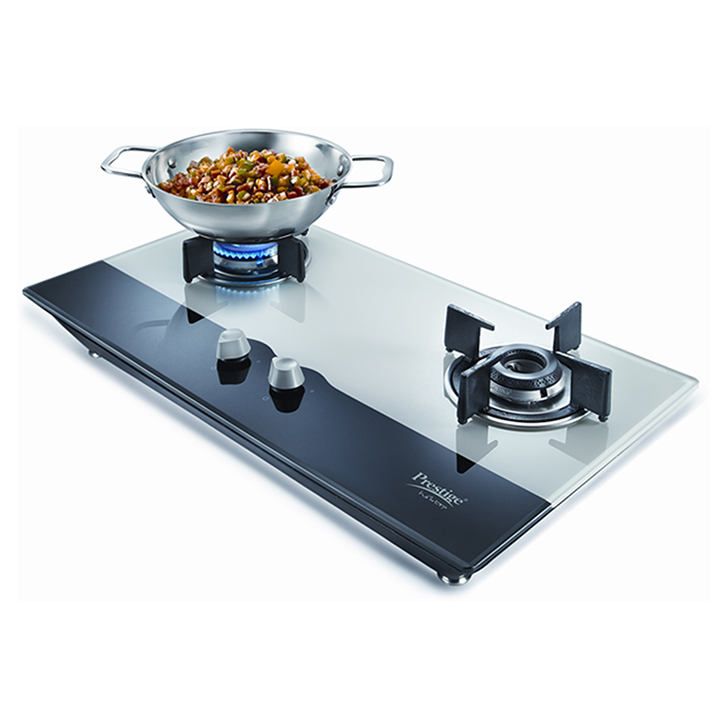 Prestige Hobtop 2 Burner Glass Top Gas Stove Stainless steel Hobs & Chimney in White & Black Colour by Prestige