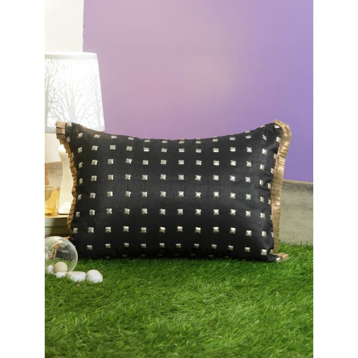 Matrix Polycotton Cushion Covers in Black Colour by Living Essence