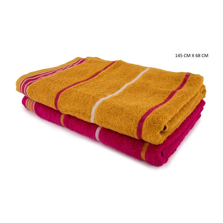 Emilia Bath Towels Set Of 2 Cotton Bath Towels in Gold & Pink Colour by HomeTown