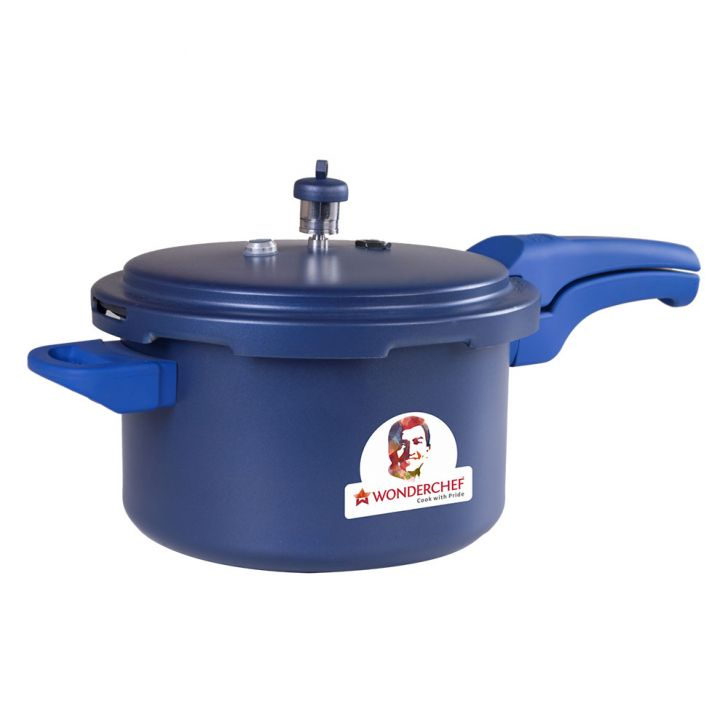 WC HEALTH GUARD PRESSURE COOKER3 LTRBLUE Aluminium Cookers in Steel Color Colour by Wonderchef