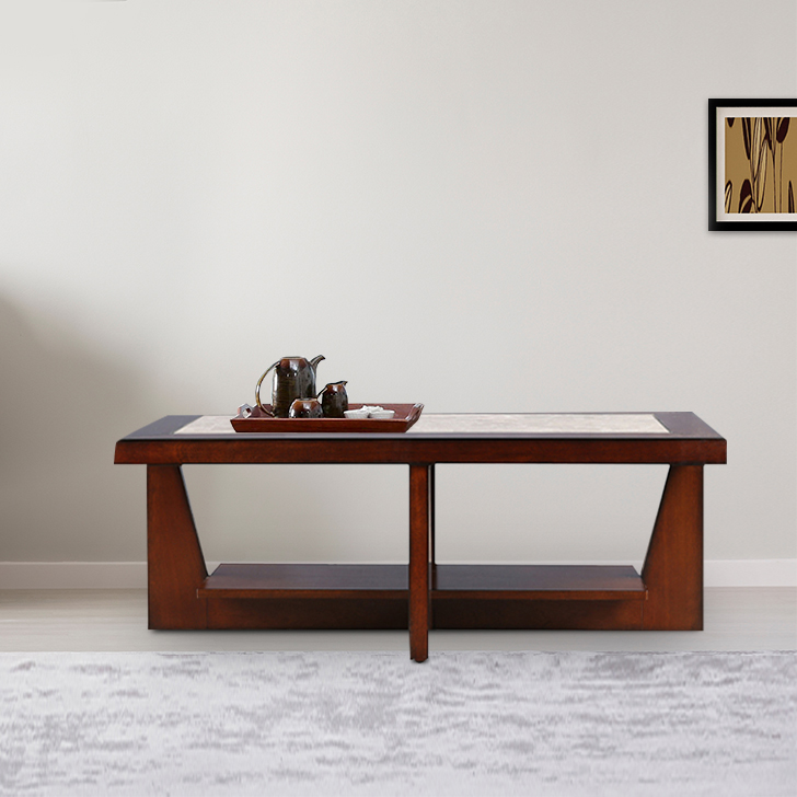 Samuel Engineered Wood Center Table in Off White & Brown Colour by HomeTown