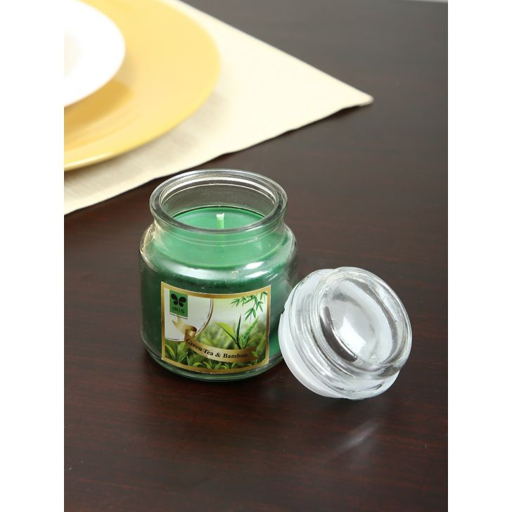 Jar Candle Wax In Glass Bottle in Green Bamboo Colour