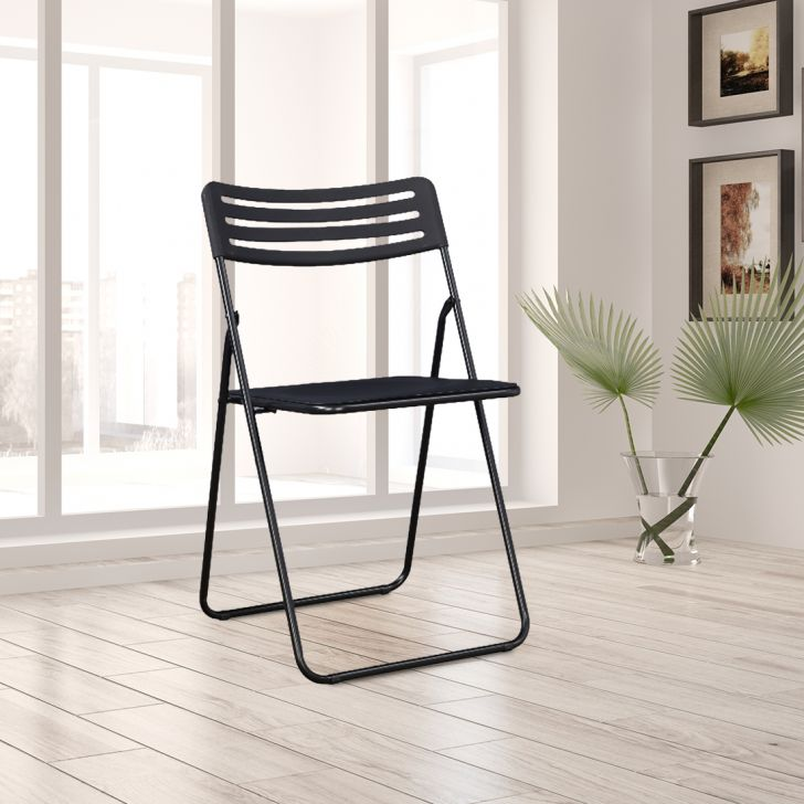Liana Metal Folding Chair in Black Colour by HomeTown