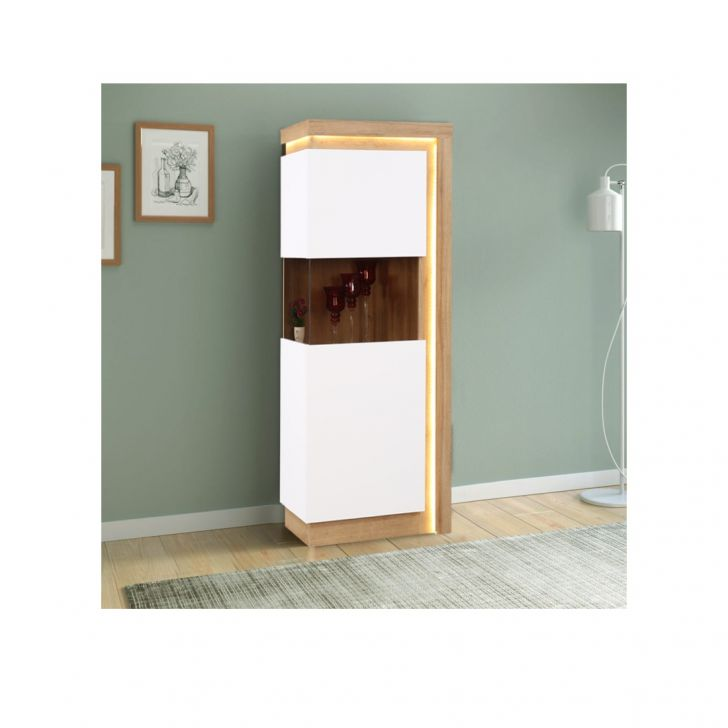 Beatrice Engineered Wood Vertical Unit in White High Gloss + Oak Colour by HomeTown