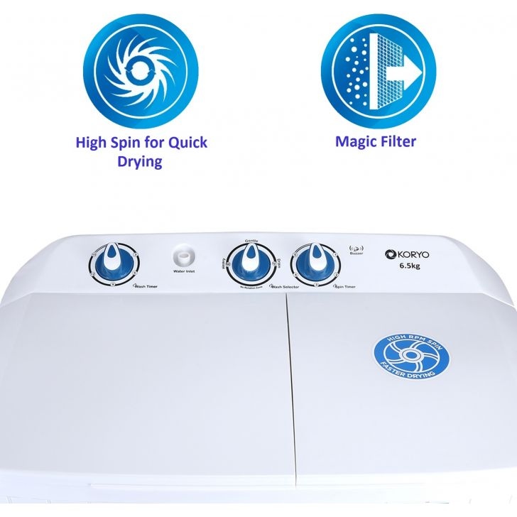 "Koryo KWM6820SA "" Semi Automatic Washing Machine in White & Blue Colour by Koryo"
