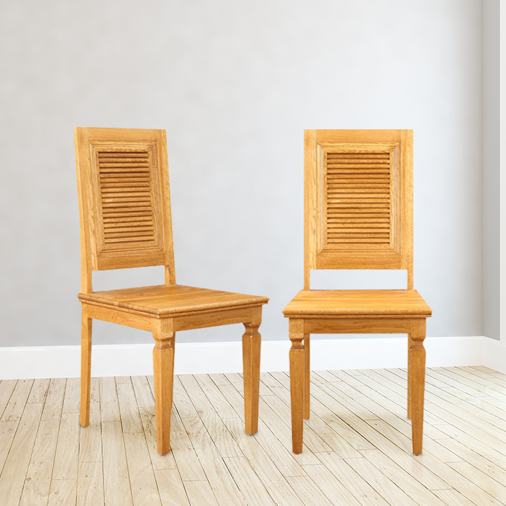 Denver Solid Wood Dining Chair Set of Two in Brown Oak Colour by HomeTown