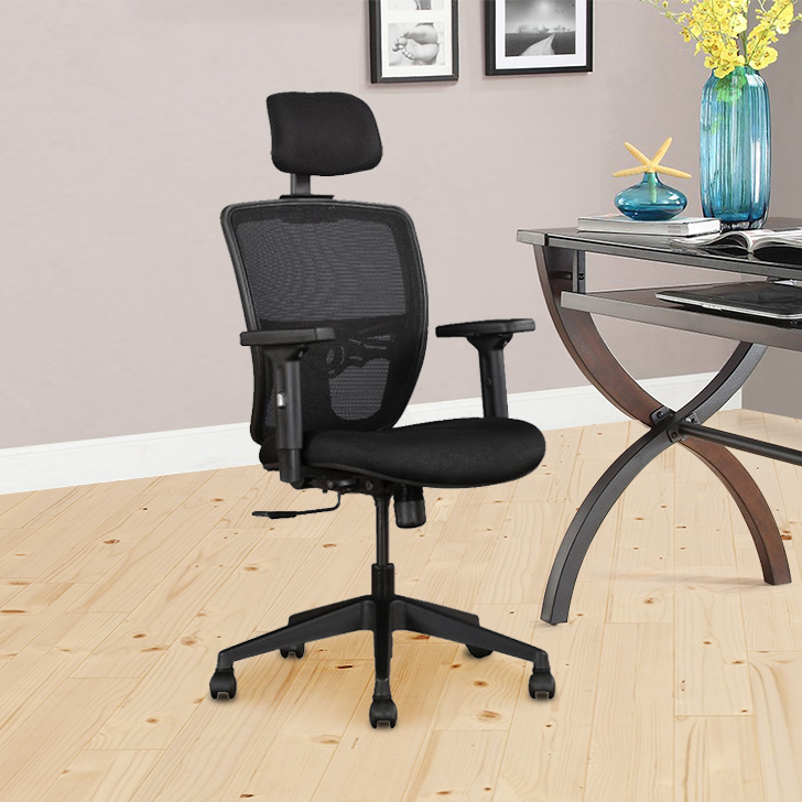 Aspire Fabric Office Chair in Black Color by HomeTown