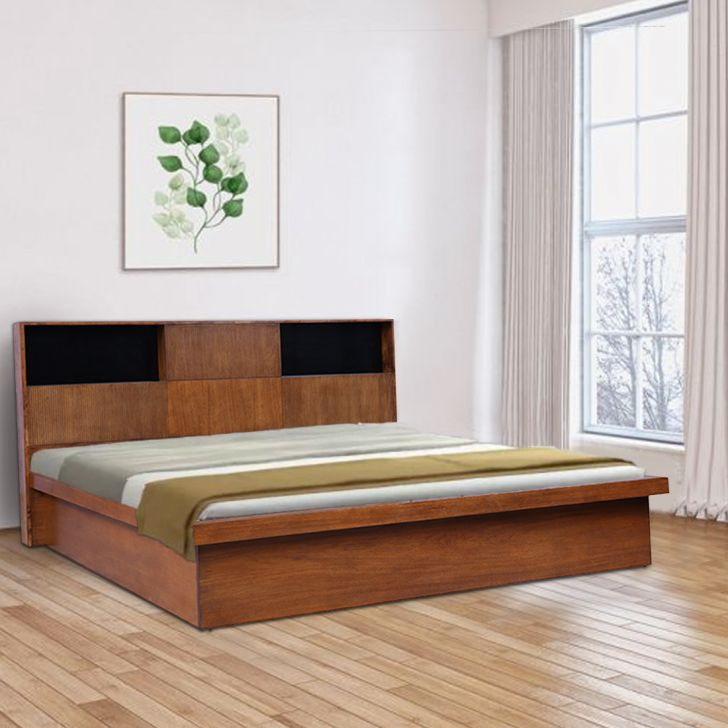 Mystique Solid Wood Hydraulic Storage King Bed in Walnut Colour by HomeTown