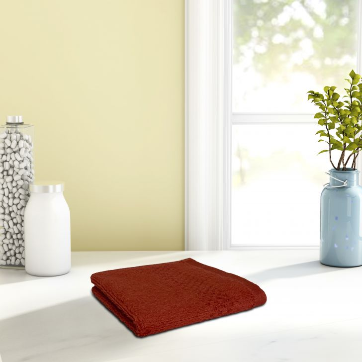 Swift Dry Cotton Face Towel 30X30 Cm 450 Gsm in Rust Colour